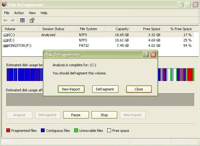 run disk defragmenter