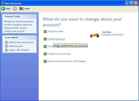 password protect - user accounts