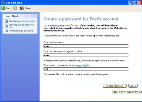 password protect - user accounts